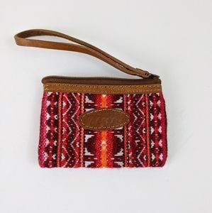 Colorful Woven Aztec Zip Wristlet Change Purse